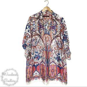 Zara Paisley Roll Tab Sleeves Tunic withPockets